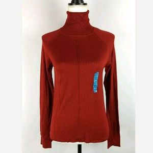 New Zara Rust Red Thin Knit Turtleneck Sweater